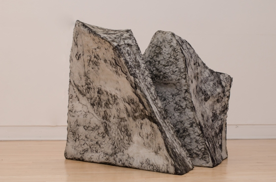 Green Wood Rock II: 2013, claire sherwood, cement, lace, steel